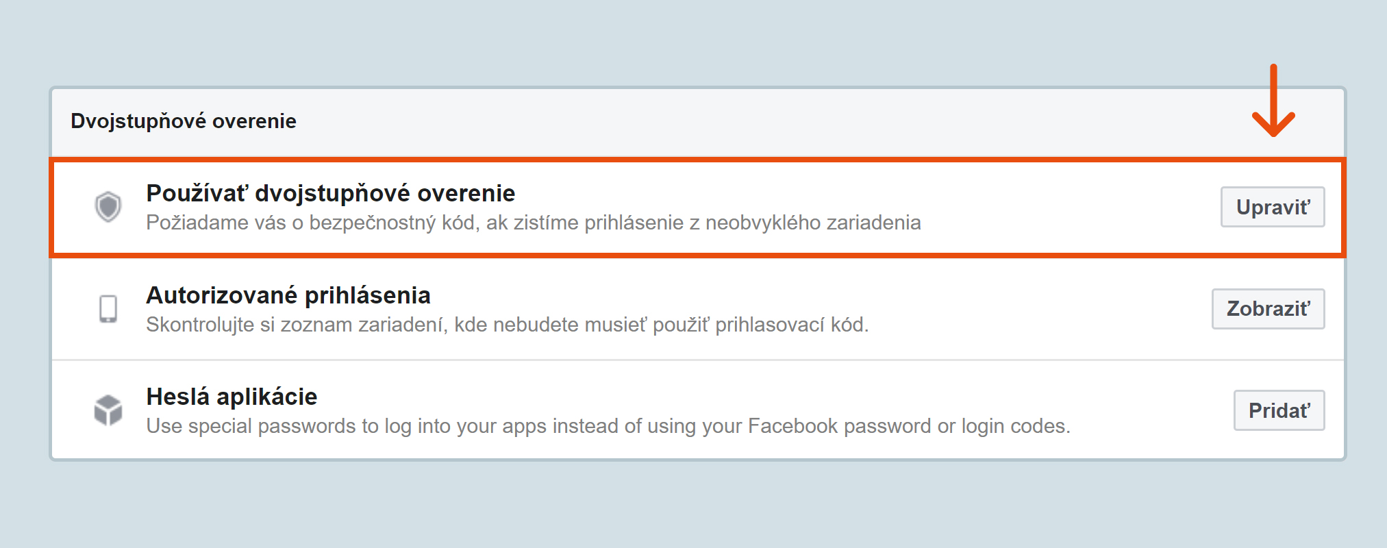 Nastavenie dvojstupňového overenia Facebook