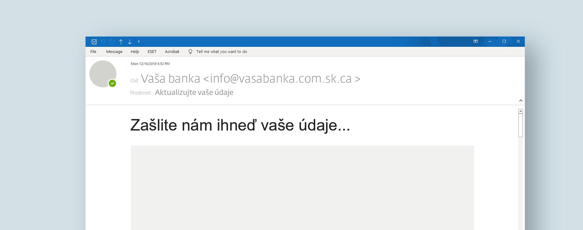 Ukážka e-mailu z praxe - žiadosť o osobné údaje phishing