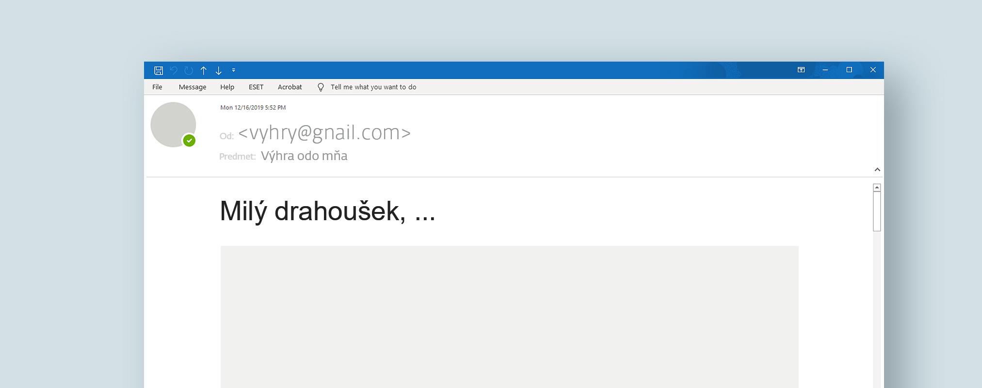 Ukážka e-mailu z praxe - podozrivá e-mailová adresa alebo doména - phishing