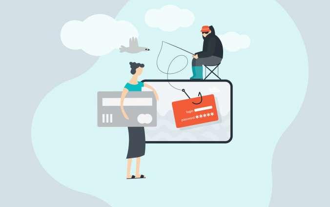 Rybár chytá obeť na návnadu phishing