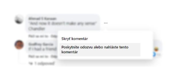 nahlásenie komentára na Facebooku ESET